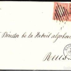 Sellos: CARTA ENTERA CON PAREJA NUM. 48 DE MADRID (1857) A REUS PARRILLA Y FECHADOR NEGROS. Lote 97535915