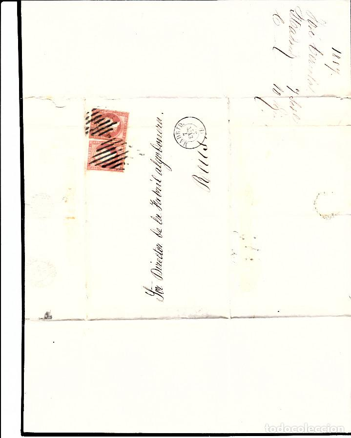 Sellos: CARTA ENTERA CON PAREJA NUM. 48 DE MADRID (1857) A REUS PARRILLA Y FECHADOR NEGROS - Foto 2 - 97535915