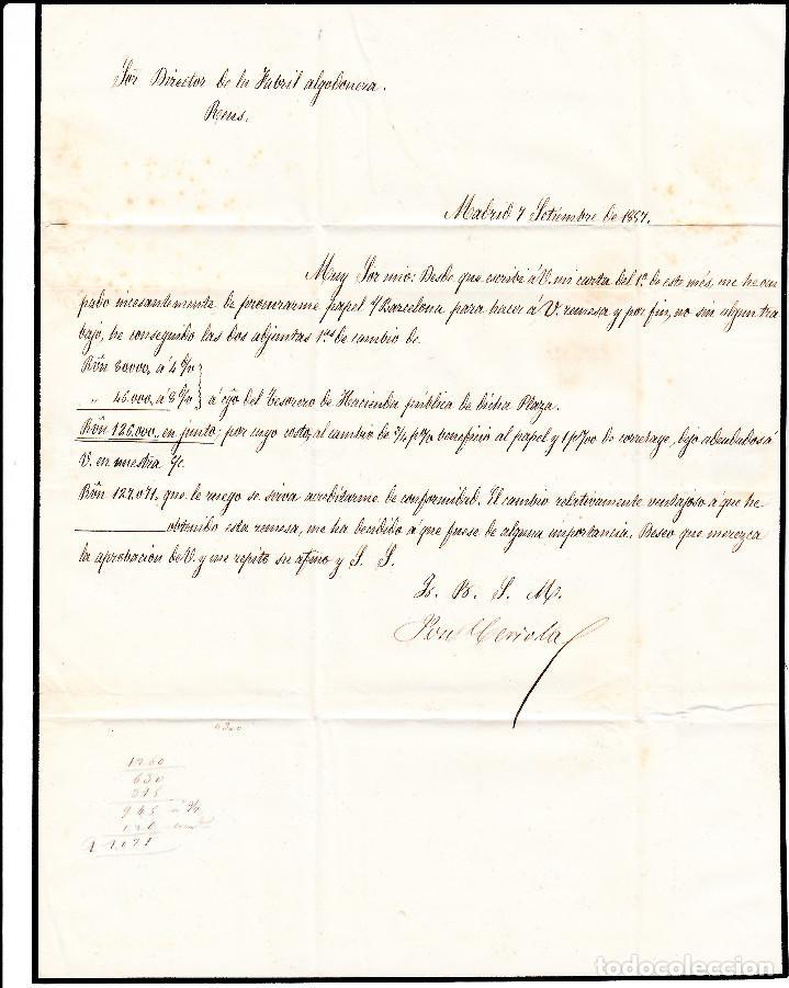 Sellos: CARTA ENTERA CON PAREJA NUM. 48 DE MADRID (1857) A REUS PARRILLA Y FECHADOR NEGROS - Foto 3 - 97535915