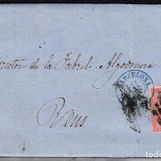 Sellos: CARTA ENTERA CON NUM. 48 DE BARCELONA (1858) A REUS, PARRILLA Y FECHADOR AZUL SOBRE EL SELLO. Lote 97563503