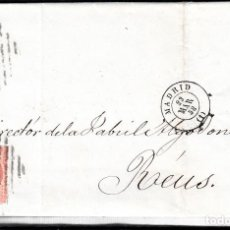 Sellos: CARTA ENTERA CON NUM. 48 DE MADRID (1858) A REUS ---MATASELLOS DOBLE REJILLA---. Lote 97564023