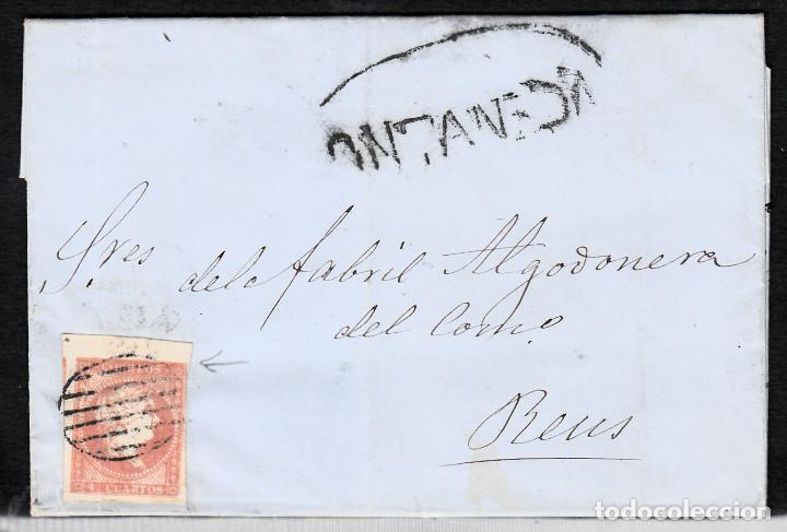 CARTA ENTERA NUM. 48 DE SANTIAGO SANUDO EN VERA DE PAZ (1858)- MARCA PREFILATÉLICA DE ONTANEDA (Sellos - España - Isabel II de 1.850 a 1.869 - Cartas)