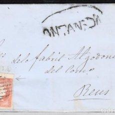 Sellos: CARTA ENTERA NUM. 48 DE SANTIAGO SANUDO EN VERA DE PAZ (1858)- MARCA PREFILATÉLICA DE ONTANEDA. Lote 156775633