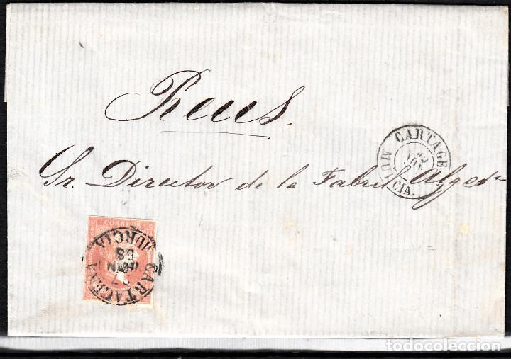 CARTA ENTERA CON NUM. 48 DE JACINTO DOMENECH EN CARTAGENA (1858) A REUS CON DOS FECHADORES NEGROS (Sellos - España - Isabel II de 1.850 a 1.869 - Cartas)