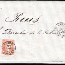Sellos: CARTA ENTERA CON NUM. 48 DE JACINTO DOMENECH EN CARTAGENA (1858) A REUS CON DOS FECHADORES NEGROS. Lote 97568243