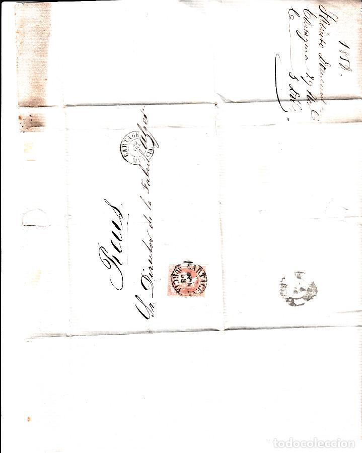 Sellos: CARTA ENTERA CON NUM. 48 DE JACINTO DOMENECH EN CARTAGENA (1858) A REUS CON DOS FECHADORES NEGROS - Foto 2 - 97568243