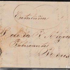 Sellos: CARTA ENTERA CON NUM. 48 DE BARBASTRO (1858) A REUS MATASELLOS FECHADOR NEGRO. Lote 97600435