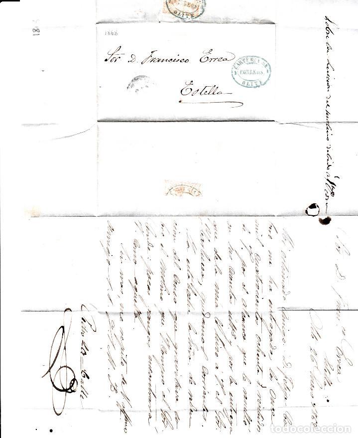 Sellos: CARTA ENTERA CON NUM. 96 CON MARCA DE CARTERÍA DE OLITE -NAVARRA- DESTINO ESTELLA AÑO 1868 - Foto 4 - 98162071