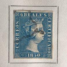 Sellos: SELLO ESPAÑA ISABEL II AÑO 1850-USADO-EDIFIL 4, 6R.AZUL. SIN DENTAR. Lote 98576712