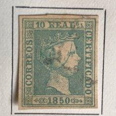 Sellos: SELLO ESPAÑA ISABEL II AÑO 1850-USADO-EDIFIL 5, 10 R.VERDE. SIN DENTAR. Lote 98576940