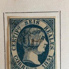 Sellos: SELLO ESPAÑA ISABEL II AÑO 1851-USADO-EDIFIL 10, 6 R.AZUL. SIN DENTAR. Lote 98611267