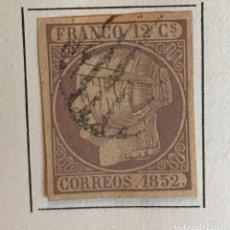 Sellos: SELLO ESPAÑA ISABEL II AÑO 1852-USADO-EDIFIL 13, 12 CU.LILA. SIN DENTAR. Lote 98612235