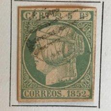 Sellos: SELLO ESPAÑA ISABEL II AÑO 1852-USADO-EDIFIL 15 5R.VERDE. SIN DENTAR. Lote 98612243
