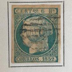 Sellos: SELLO ESPAÑA ISABEL II AÑO 1852-USADO-EDIFIL 16 6R. AZUL VERDOSO. SIN DENTAR. Lote 98612251