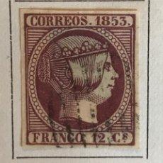 Sellos: SELLO ESPAÑA ISABEL II AÑO 1853-USADO-EDIFIL 18, 12 CU.VIOLETA. SIN DENTAR. Lote 98612603