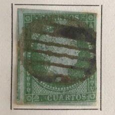 Sellos: SELLO ISABEL II DE AÑO 1855-USADO-EDIFIL 39, 2 CU.VERDE. SIN DENTAR. Lote 98632011