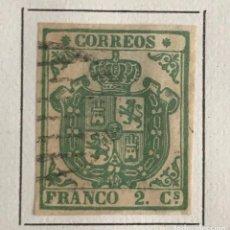 Sellos: SELLO ESPAÑA ESCUDO DE ESPAÑA AÑO 1854-USADO-EDIFIL 32A. 2 CU.VERDE. SIN DENTAR. Lote 98632187