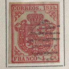 Sellos: SELLO ESPAÑA ESCUDO DE ESPAÑA AÑO 1854-USADO-EDIFIL 33A. 4.CU.CARMIN. SIN DENTAR. Lote 98632191