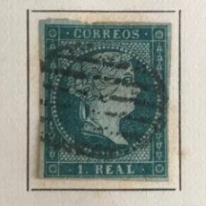Sellos: SELLO DE ESPAÑA ISABEL II AÑO 1855-USADO-EDIFIL 41, 1 R.AZUL VERDOSO. SIN DENTAR. Lote 98632199