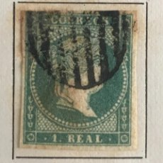 Sellos: SELLO DE ESPAÑA ISABEL II AÑO 1856-USADO-EDIFIL 45, 1 R.AZUL VERDOSO. SIN DENTAR. Lote 98634507