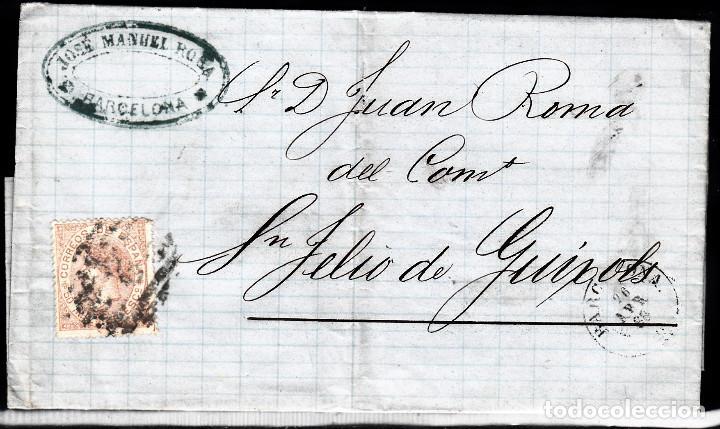 CARTA ENTERA CON NUM. 96 DE BARCELONA (1868) A SANT FELIU DE GUIXOLS -PARRILLA CON CIFRA (Sellos - España - Isabel II de 1.850 a 1.869 - Cartas)