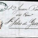 Sellos: CARTA ENTERA CON NUM. 96 DE BARCELONA (1868) A SANT FELIU DE GUIXOLS -PARRILLA CON CIFRA. Lote 98670879