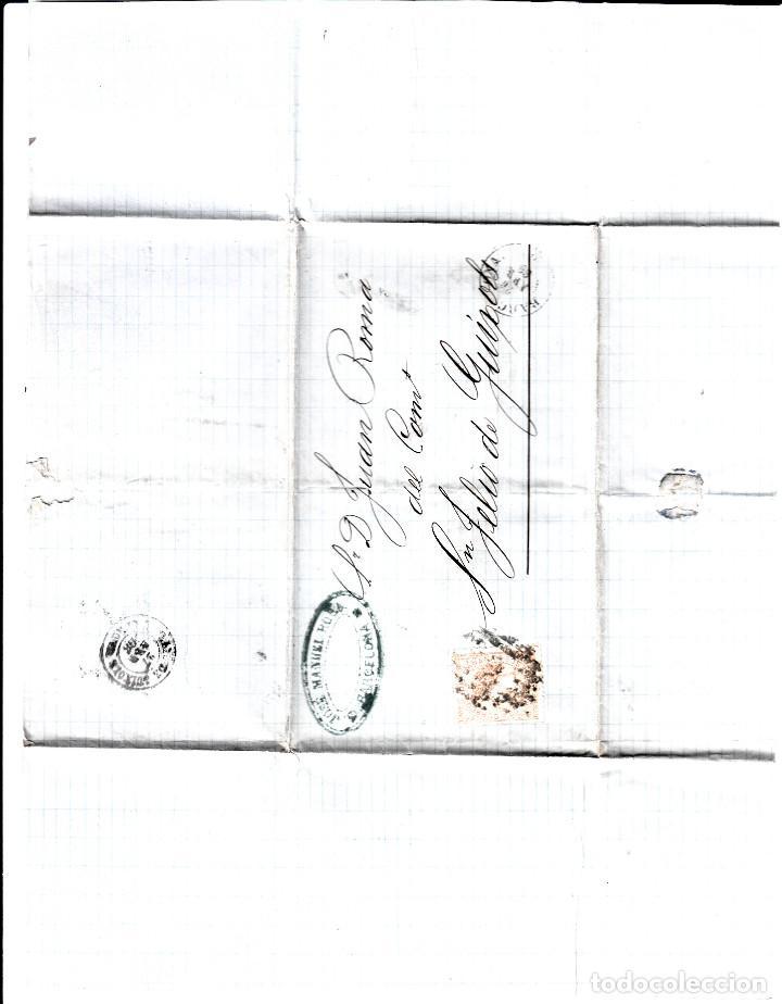 Sellos: CARTA ENTERA CON NUM. 96 DE BARCELONA (1868) A SANT FELIU DE GUIXOLS -PARRILLA CON CIFRA - Foto 2 - 98670879