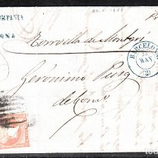 Sellos: CARTA ENTERA DE BARCELONA (1858) CON DESTINO TORROELLA DE MONTGRI-PARRILLA Y FECHADOR AZUL SIN AÑO. Lote 98671099