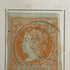 Sellos: SELLO DE ESPAÑA ISABEL II AÑO 1860-1861-USADO-EDIFIL 52, 4 CU.NARANJA S.VDE. SIN DENTAR. Lote 98677135