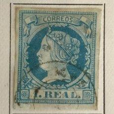 Sellos: SELLO DE ESPAÑA ISABEL II AÑO 1860-1861-USADO-EDIFIL 55, 1 R.AZUL. SIN DENTAR. Lote 98678371