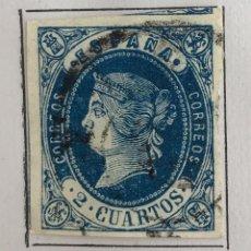 Sellos: SELLO DE ESPAÑA ISABEL II AÑO 1862-USADO-EDIFIL 57, 2 CU.AZUL S.AMARILLO. SIN DENTAR. Lote 98678387