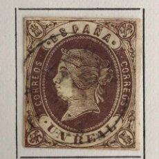 Sellos: SELLO DE ESPAÑA ISABEL II AÑO 1862-USADO-EDIFIL 61, 1R. CAST.S.AMARILLO. SIN DENTAR. Lote 98678423