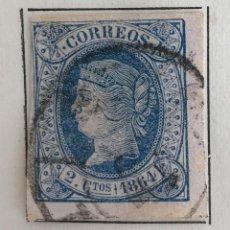 Sellos: SELLO DE ESPAÑA ISABEL II AÑO 1864-USADO-EDIFIL 63, 2 CU.AZUL S.ROSA. SIN DENTAR. Lote 98679527