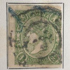Sellos: SELLO DE ESPAÑA ISABEL II AÑO 1865-USADO-EDIFIL 72, 1 R.VERDE. SIN DENTAR. Lote 98681739