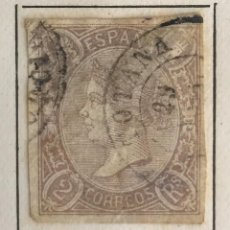 Sellos: SELLO DE ESPAÑA ISABEL II AÑO 1865-USADO-EDIFIL 73, 2 R.LILA. SIN DENTAR. Lote 98681759