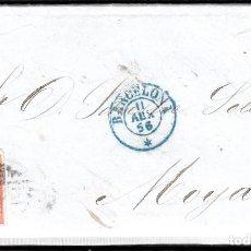 Sellos: CARTA COMPLETA NUM. 48 DE BARCELONA (1856) CON DESTINO MOIÀ - PARRILLA NEGRO Y FECHADOR AZUL. Lote 98694771