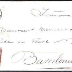 Sellos: CARTA ENTERA CON NUM. 58A DE RODA DE TER (1862) A BARCELONA , MATASELLOS FECHADOR NEGRO DE VIC. Lote 98709511