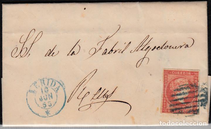 CARTA ENTERA CON NUM. 48 DE TORRES DE SEGRE (1856) FECHADOR DE LLEIDA AZUL Y PARRILLA AZUL (Sellos - España - Isabel II de 1.850 a 1.869 - Cartas)
