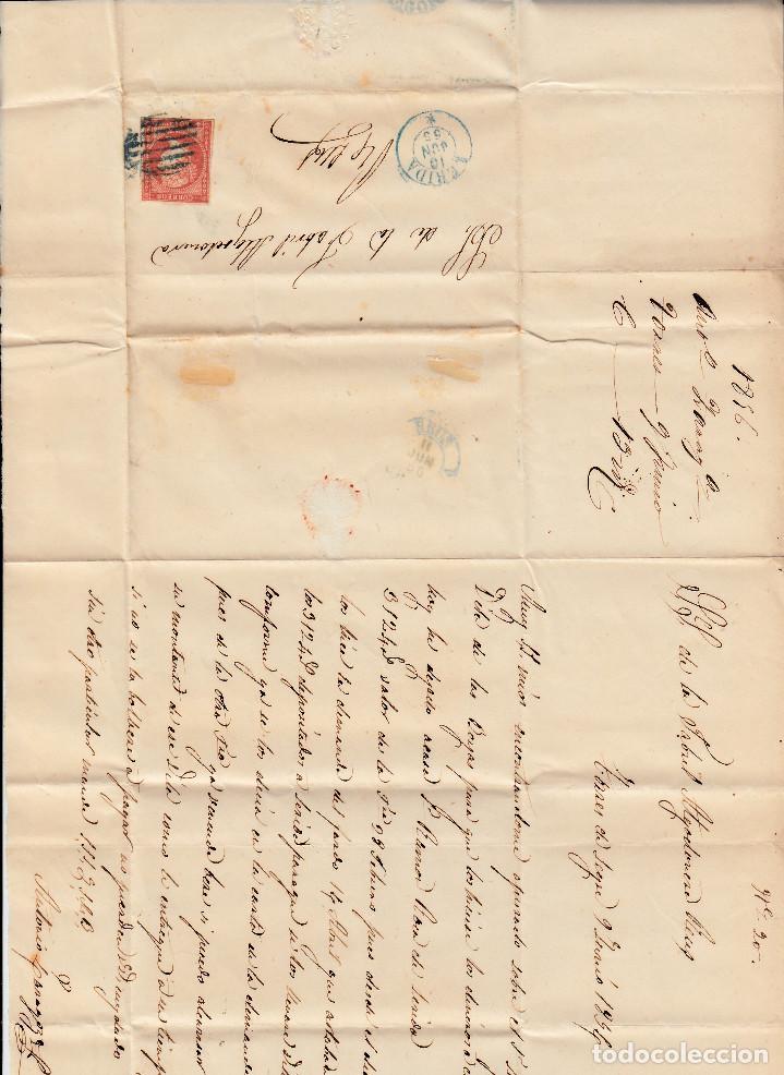 Sellos: CARTA ENTERA CON NUM. 48 DE TORRES DE SEGRE (1856) FECHADOR DE LLEIDA AZUL Y PARRILLA AZUL - Foto 2 - 98709819