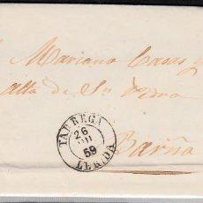 Sellos: CARTA ENTERA CON NUM. 48 DE TÀRREGA (1859) FECHADOR NEGRO. Lote 98710191