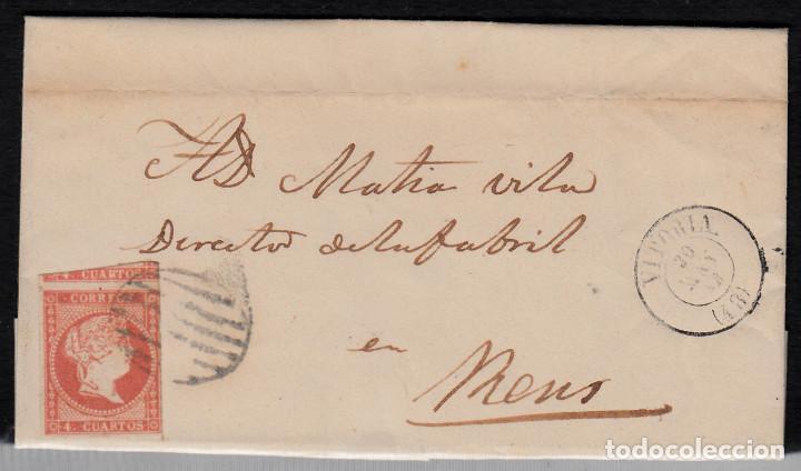 CARTA ENTERA CON NUM. 48 DE VITORIA (1858) A REUS MATASELLOS DE PARRILLA -VER AMPLIACIÓN SELLO- (Sellos - España - Isabel II de 1.850 a 1.869 - Cartas)