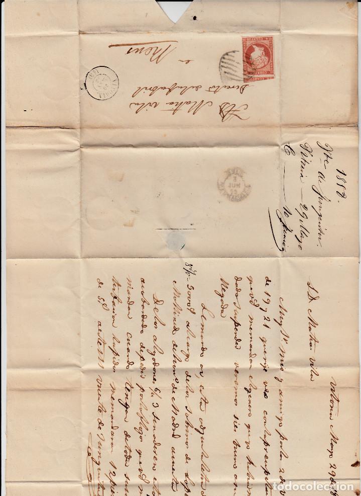 Sellos: CARTA ENTERA CON NUM. 48 DE VITORIA (1858) A REUS MATASELLOS DE PARRILLA -ver ampliación sello- - Foto 3 - 98772347