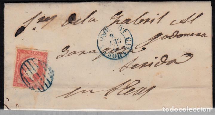 CARTA ENTERA CON NUM.48 DE CALAHORRA (1856) CON PARRILLA Y FECHADOR AZULES (Sellos - España - Isabel II de 1.850 a 1.869 - Cartas)