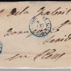 Sellos: CARTA ENTERA CON NUM.48 DE CALAHORRA (1856) CON PARRILLA Y FECHADOR AZULES. Lote 98772831