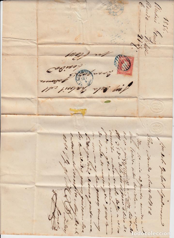 Sellos: CARTA ENTERA CON NUM.48 DE CALAHORRA (1856) CON PARRILLA Y FECHADOR AZULES - Foto 2 - 98772831