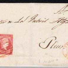 Sellos: CARTA COMPLETA CON NUM .48 DE YECLA-MURCIA- (1856) CON PARRILLA EN ROJO ---EXTREMADAMENTE RARO----. Lote 98773779