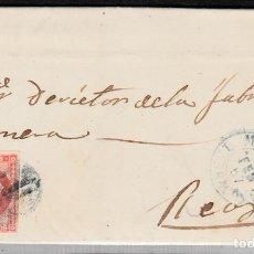 Sellos: CARTA ENTERA CON NUM. 48 DE MORA D'EBRE (1857) A REUS PARRILLA NEGRO Y FECHADOR AZUL. Lote 98782751