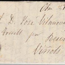 Sellos: CARTA ENTERA CON NUM. 58A DE BARCELONA (1863) A VINYOLS CON RUEDA DE CARRETA . Lote 98783259