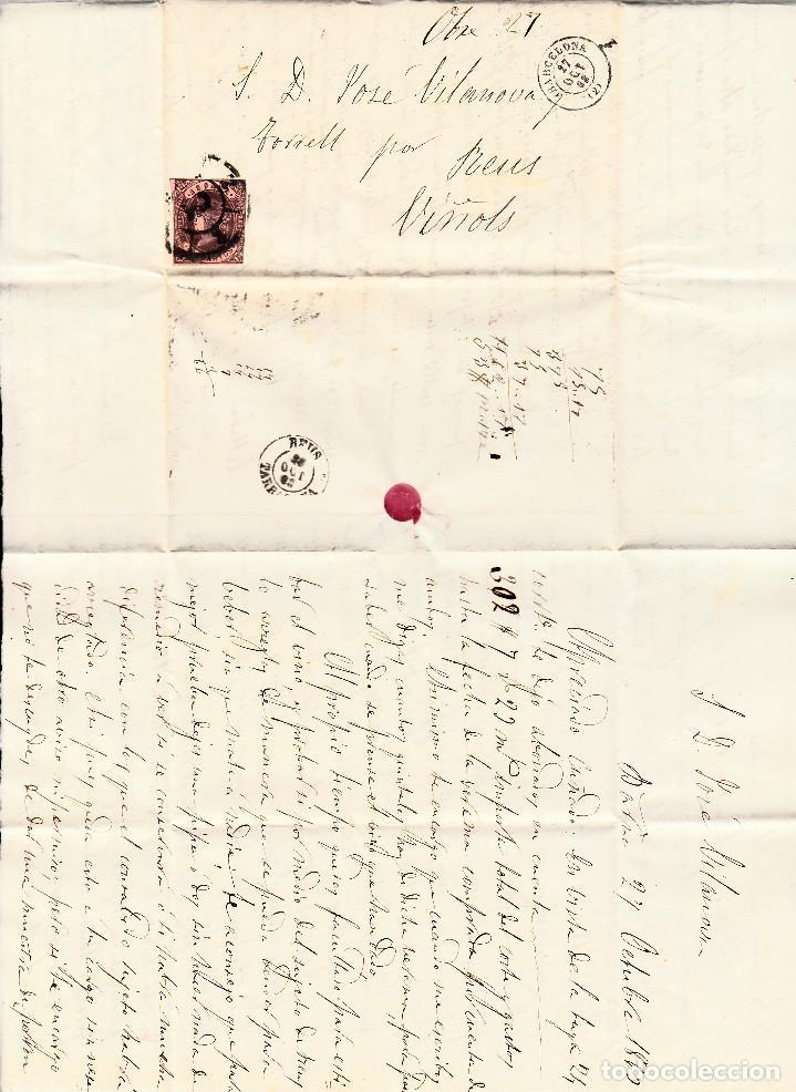 Sellos: CARTA ENTERA CON NUM. 58A DE BARCELONA (1863) A VINYOLS CON RUEDA DE CARRETA - Foto 2 - 98783259