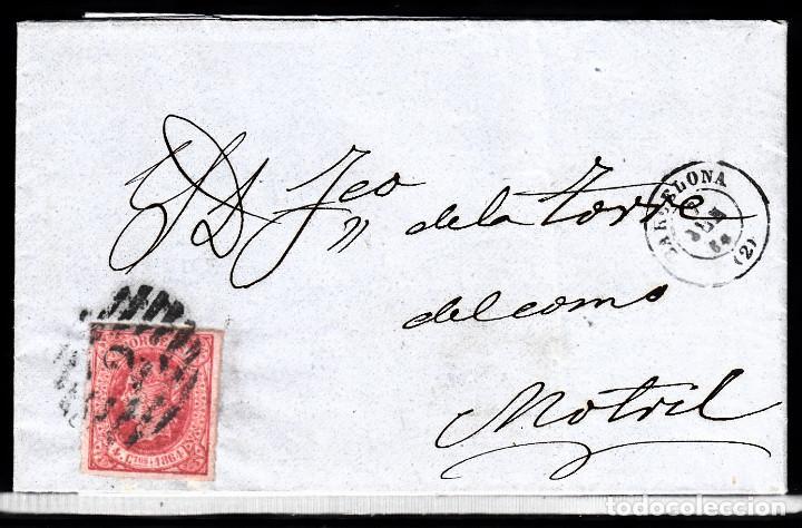 CARTA ENTERA CON NUM. 64 DE BARCELONA (1864) A MOTRIL CON PARRILLA CON CIFRA 2 (Sellos - España - Isabel II de 1.850 a 1.869 - Cartas)